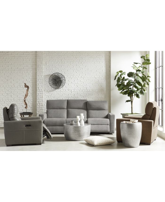 """Furniture CLOSEOUT! Clynton 88"""" Leather Dual Power Sofa with USB Power Outlet & Reviews - Furniture - Macy's"""
