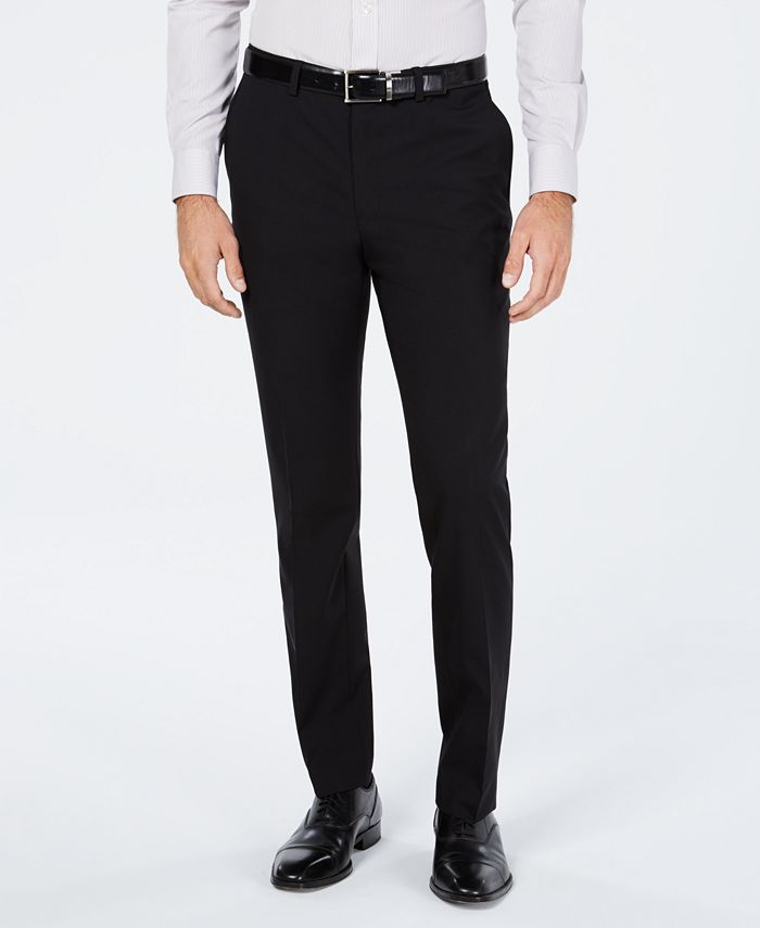 Cole Haan - Men's Grand.OS Wearable Technology Slim-Fit Stretch Modern Blue Solid Suit Pants