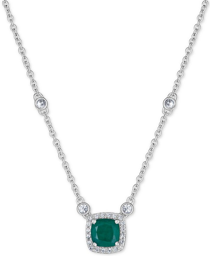 """Macy's - Emerald (1 ct. t.w.) & White Sapphire (9/10 ct. t.w.) 18"""" Pendant Necklace in Sterling Silver (Also Available in Certified Ruby)"""