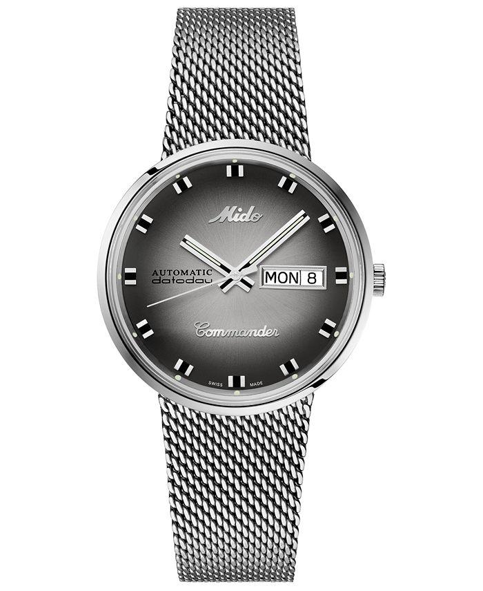 Mido - Men's Swiss Automatic Commander Shade Stainless Steel Mesh Bracelet Watch 37mm