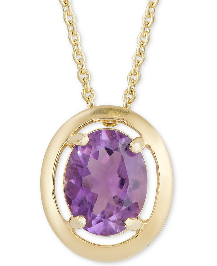 """Macy's - Amethyst Oval 18"""" Pendant Necklace (2-3/8 ct. t.w.) in 18k Gold-Plated Sterling Silver"""