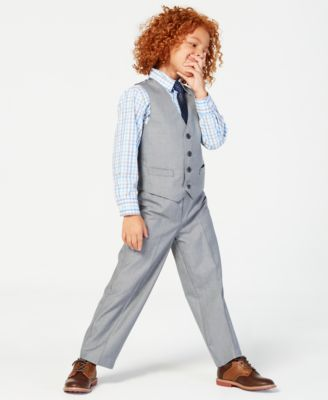 3-Pc. Sharkskin Vest, Shirt & Pants Set, Little Boys
