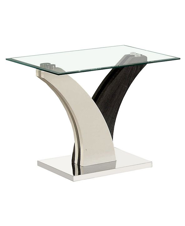 Furniture of America Tri Glass Top End Table
