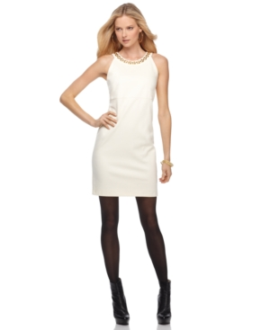 MICHAEL Michael Kors Petite Dress, Sleeveless Ponte Knit Halter Sheath