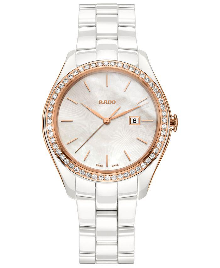 Rado - Women's Swiss HyperChrome Diamond (3/8 ct. t.w.) White High-Tech Ceramic Bracelet Watch 36mm