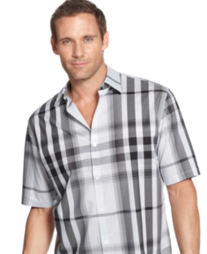 Calvin Klein Big and Tall Shirt, Short Sleeve Plaid