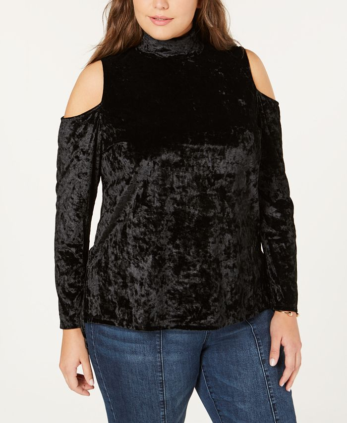 One A - Plus Size Crushed Velvet Cold-Shoulder Top