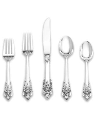 wallace sterling silver flatware grande baroque 5 piece dinner place setting - Sterling Silver Flatware