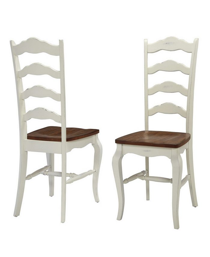 Home Styles - The French Countryside Oak and Rubbed White Dining Chair Pair