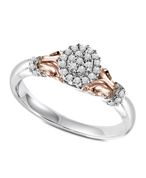 Diamond Ring, 14k Rose Gold and Sterling Silver Round Cut Diamond Engagement Ring (1/6 ct. t.w.)