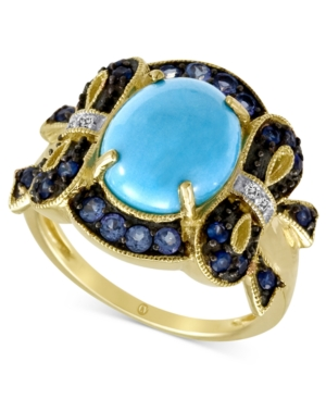 Carlo Viani 14k Gold Ring, Turquoise (2-9/10 mm) and Multistone Bow Ring