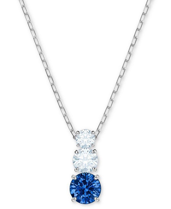 "Swarovski - Silver-Tone Triple-Crystal Pendant Necklace, 14-4/5"" + 2"" extender"