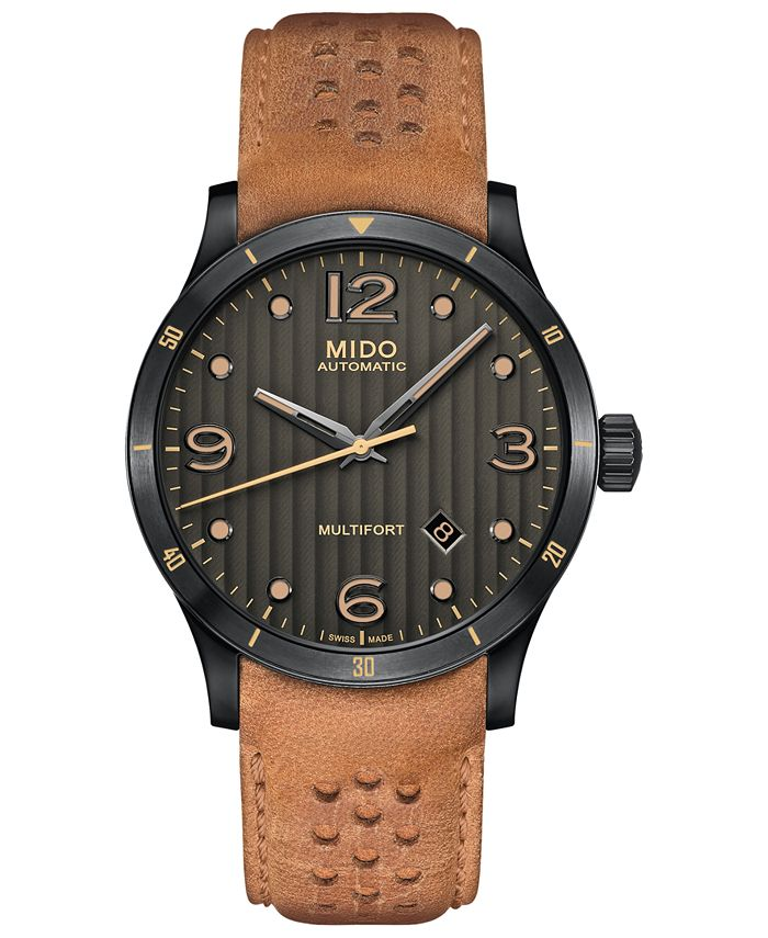 Mido - Men's Swiss Automatic Multifort Brown Leather Strap Watch 42mm