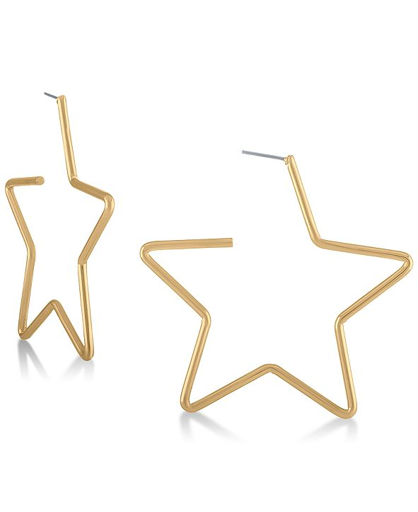 RACHEL Rachel Roy Gold-Tone Star Large Hoop Earrings