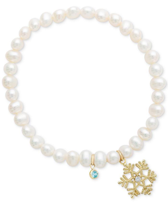 Disney Children's Cultured Freshwater Pearl (4mm) & 14k Snowflake Charm Stretch Bracelet & Reviews - Bracelets - Jewelry & Watches - Macy's