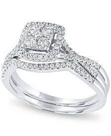 Diamond Square Halo Cluster Bridal Set (1/2 ct. t.w.) in 14k White Gold