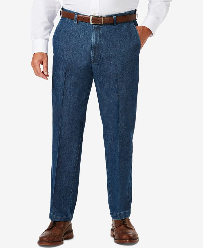 Haggar - Men's Big & Tall Stretch Denim Classic-Fit Flat Front Pants