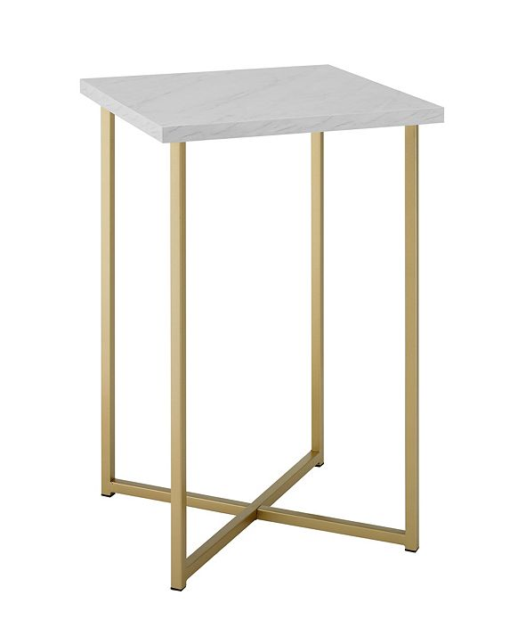 Walker Edison 16 inch Square Side Table with Faux Marble Top and Gold Legs