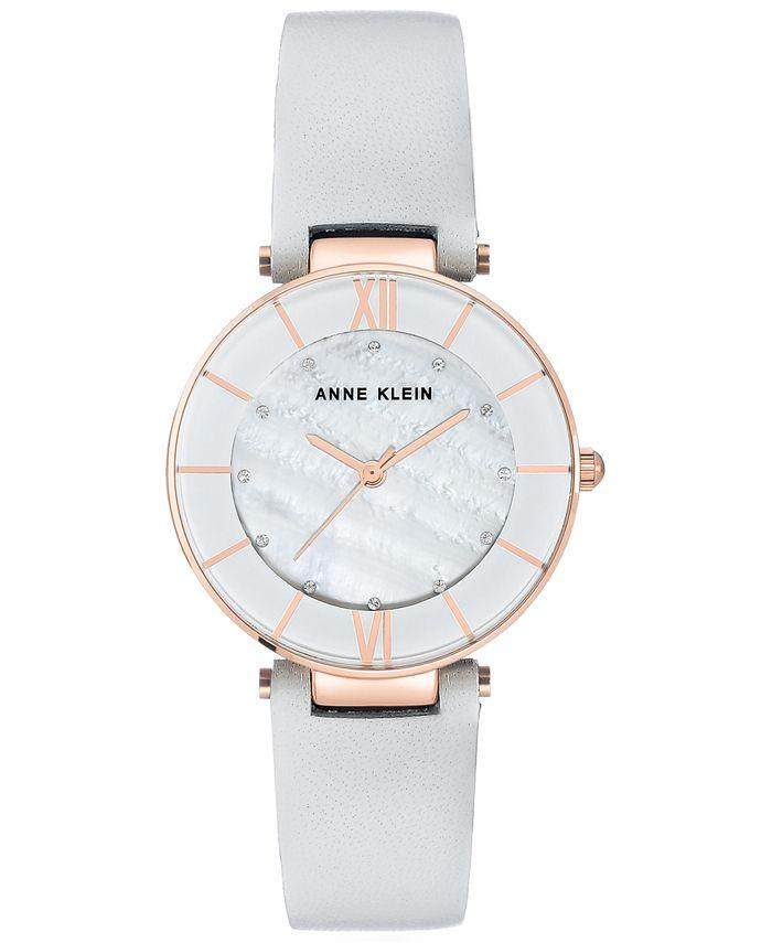 Anne Klein - Women's Light Gray Leather Strap Watch 32mm