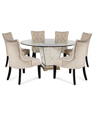 Marais Dining Room Furniture 7 Piece Set 60 Quot Mirrored
