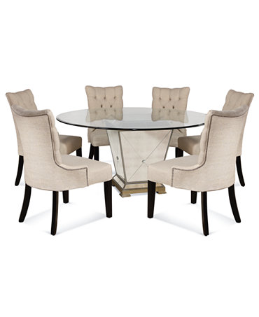 Marais dining room furniture 7 piece set 60 mirrored for Six chair dining table set