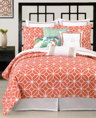 Trina Turk Trellis Coral Queen Comforter Set Bedding Collections - Coral colored comforter set for queen bed