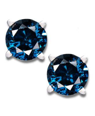 14k White Gold Earrings Treated Blue Diamond Stud