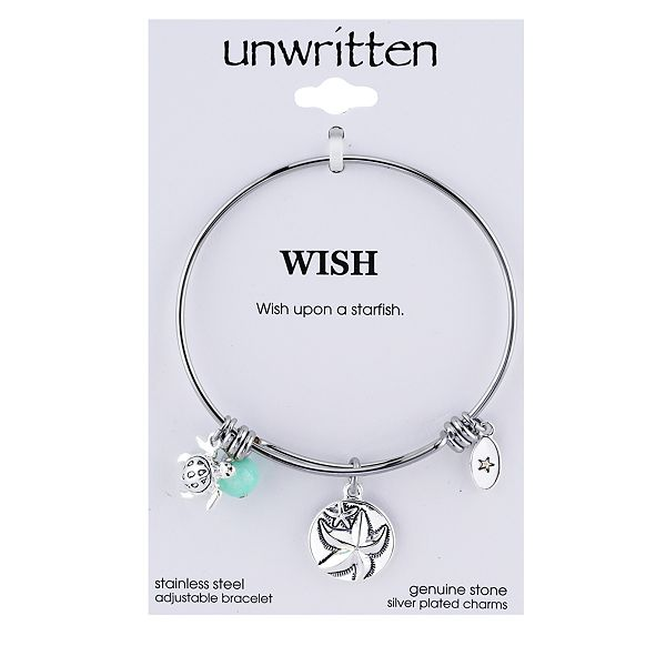 Unwritten Wish Upon a Starfish Charm and Amazonite (8mm) Bangle Bracelet in Stainless Steel with Silver Plated Charms