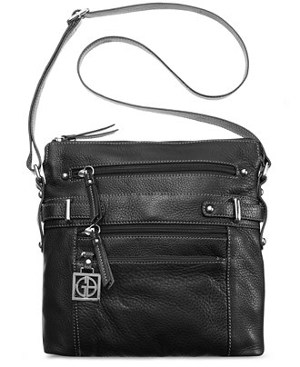 Giani Bernini Pebble Leather Multi Zip Pocket Crossbody Bag