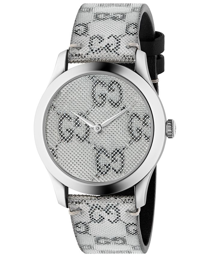 Gucci - Unisex Swiss G-Timeless White Hologram Leather Strap Watch 38mm
