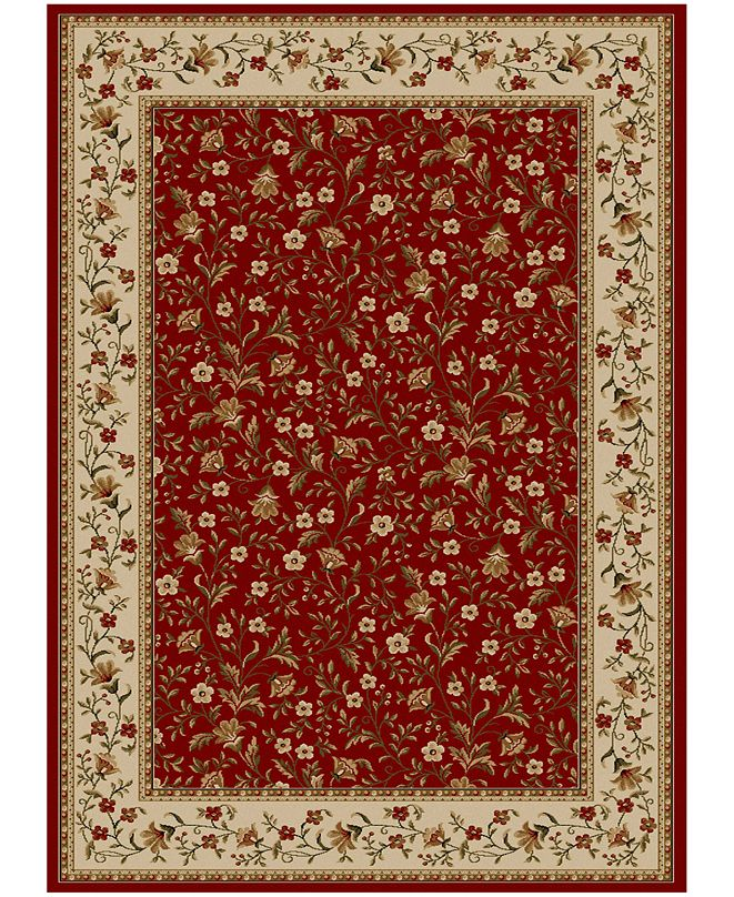 """KM Home CLOSEOUT!! Pesaro Floral Red 3'3"""" x 4'11"""" Area Rug"""