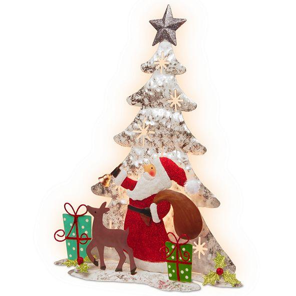 """National Tree Company National Tree 16"""" Lighted Tree Santa Scene"""