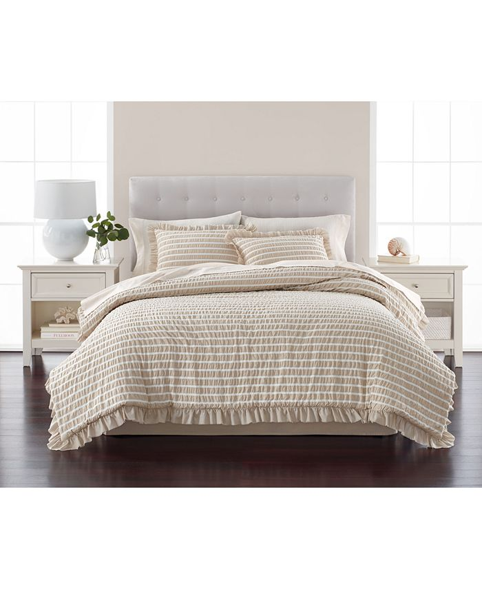 Martha Stewart Collection - Seersucker Stripe Oat 8-Pc. California King Comforter Set