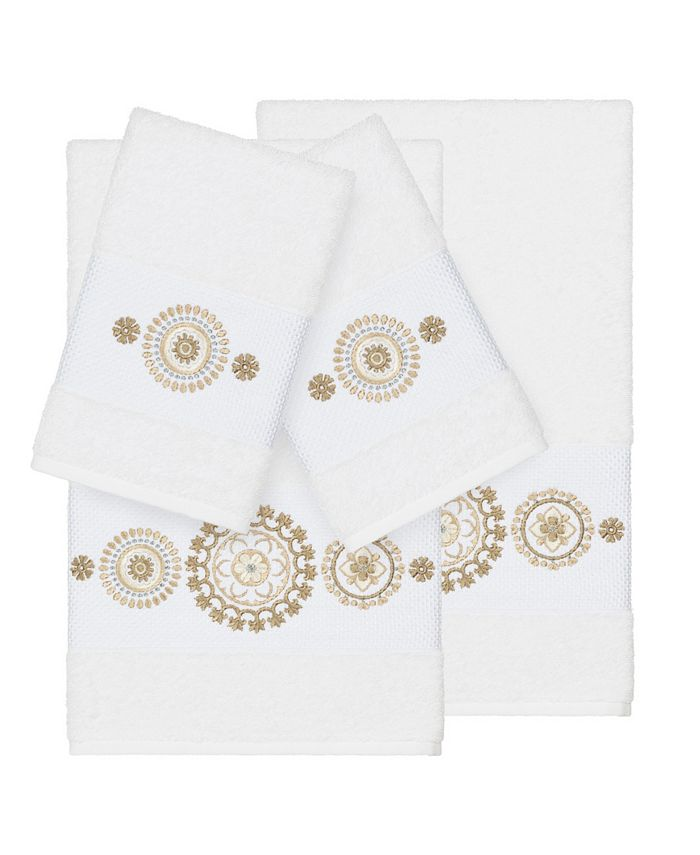 Linum Home - Isabelle 4-Pc. Embroidered Turkish Cotton Bath and Hand Towel Set