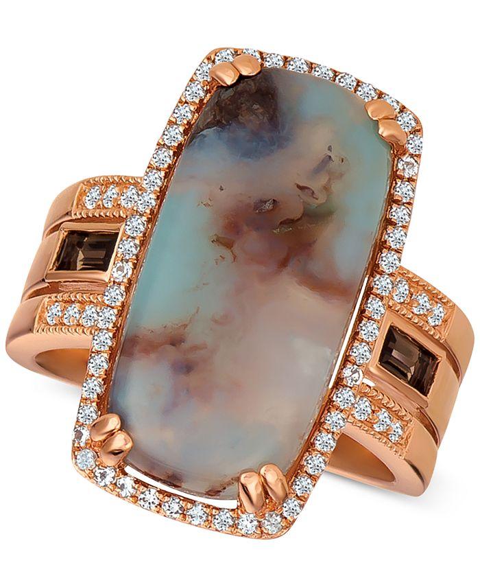 Le Vian - Ske Aquaprase (21 x 10mm) & Multi-Gemstone (1/2 ct. t.w.) Ring in 14k Rose Gold