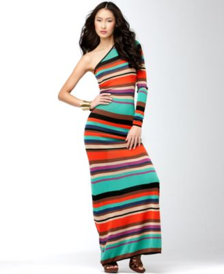 BCBGMAXAZRIA Dress, Long Sleeve One Shoulder Striped Maxi