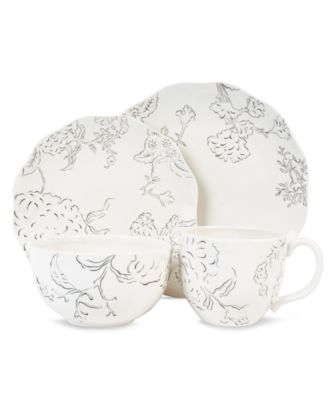 CLOSEOUT! Edie Rose by Rachel Bilson Dinnerware, Hydrangea Black and White 4 Piece Place Setting