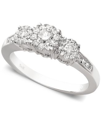 Diamond Bridal Three Stone Ring Set 1 ct tw in 14k White Gold