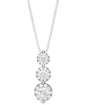 Three tier diamond necklace necklace wallpaper gallerychitrak prestige unity diamond three stone drop pendant necklace in 14k aloadofball Choice Image