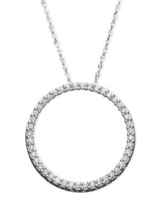 Diamond eternity circle pendant necklace in sterling silver 14 diamond eternity circle pendant necklace in sterling silver 14 ct tw aloadofball Images