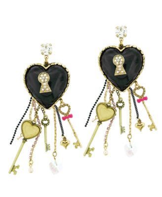 Betsey Johnson Earrings, Heart and Key Drop Earrings