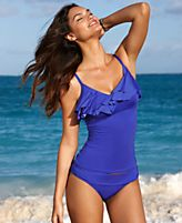 Kenneth Cole Reaction Swimsuit, Over The Shoulder Ruffled Tankini Top & Banded Waist Hipster Brief Bottom