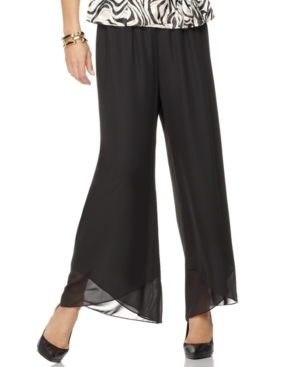 Alex Evenings Pants, Wide Leg Tulip Hem Chiffon