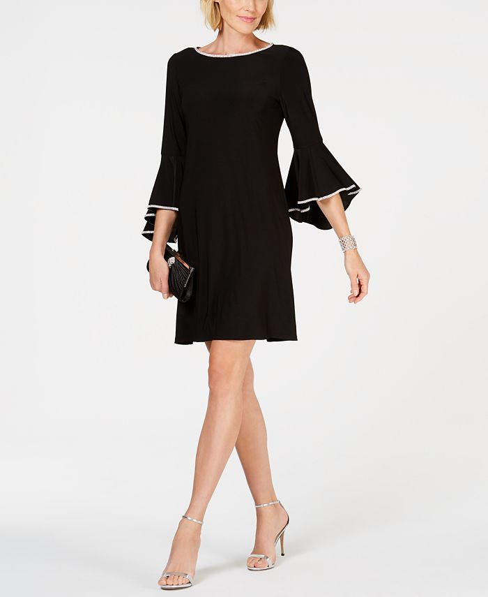 MSK - Rhinestone-Trim Bell-Sleeve Dress