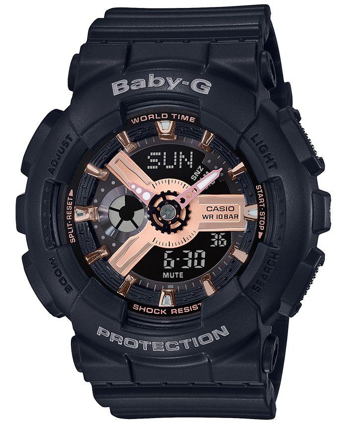 G-Shock - Women's Analog-Digital Black Resin Strap Watch 43.4mm