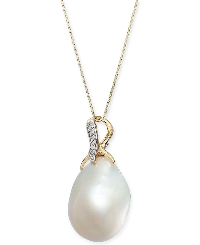"Macy's - Baroque Cultured Freshwater Pearl (13mm) & Diamond Accent 18"" Pendant Necklace in 14k Gold"