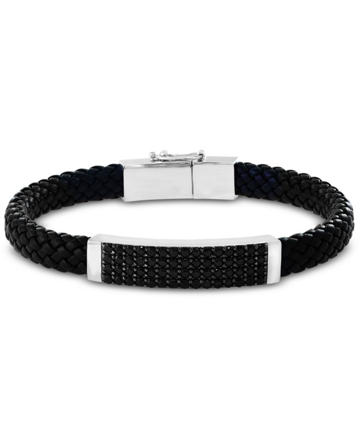 EFFY Collection EFFY® Men's Black Spinel Braided Leather Bracelet in Sterling Silver & Reviews - Bracelets - Jewelry & Watches - Macy's