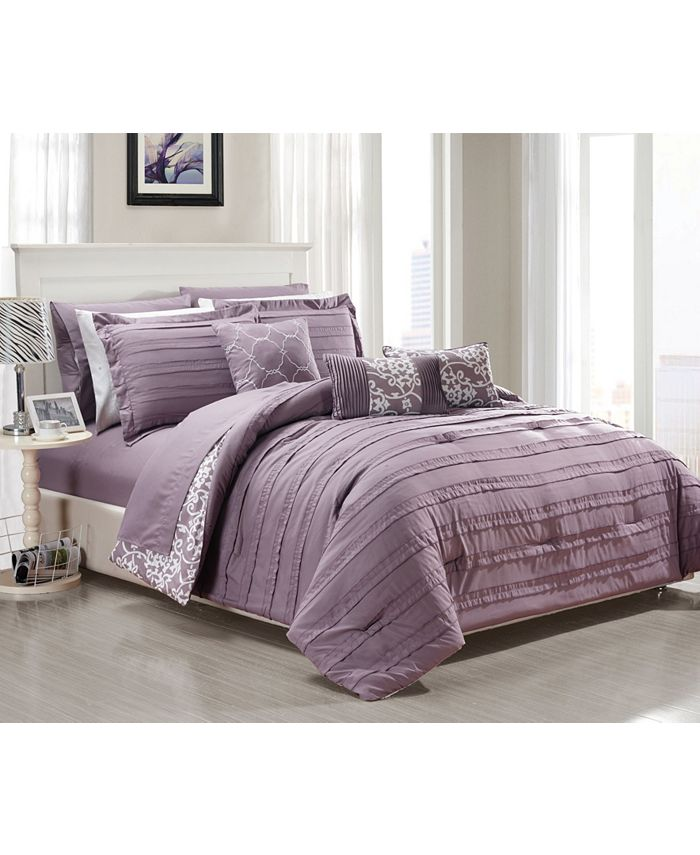 Chic Home - Lea 10-Pc. Bed In a Bag Comforter Sets