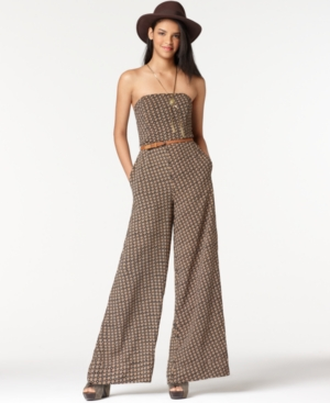 Bar III Jumpsuit, Strapless Sleeveless Belted Printed Jumpsuit