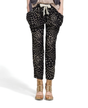 Bar III Pants, Relaxed Printed Skinny Tie Harem